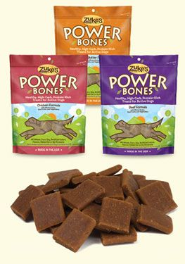 Zuke's Power Bones are like an energy bar for people, but for dogs! This is the perfect treat for use during dog agility, canine fly ball, or while running, hiking or swimming with your dog. Free of wheat, corn and soy...and Made in the USA!