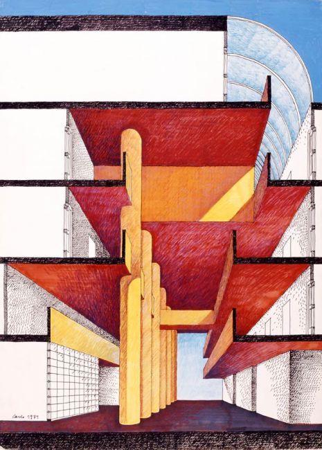 Carlo Aymonino, La luce 1 (Bolzano), 1979, Matita, inchiostro, inchiostro a spirito su carta lucida, 70x50 cm.