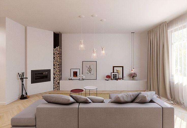 Contemporary minimalistic white fireplace in apartment #SMIRNOVAINTERIORSPARIS