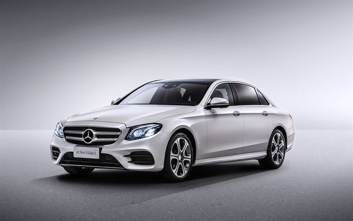 Download wallpapers Mercedes-Benz E-Class, 2017, AMG, W213, White E-Class, luxury sedan, new cars, German cars, Mercedes