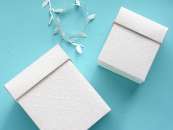 Beautiful white embossed Italian boxes - perfect for special occasions