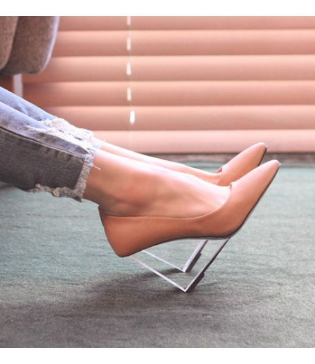 Nude Leather Korean Transparent Wedge High Heels Court Shoes