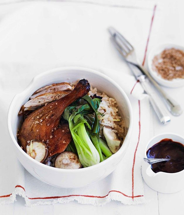 Chinese roast duck with ginger and shiitake rice :: Gourmet Traveller