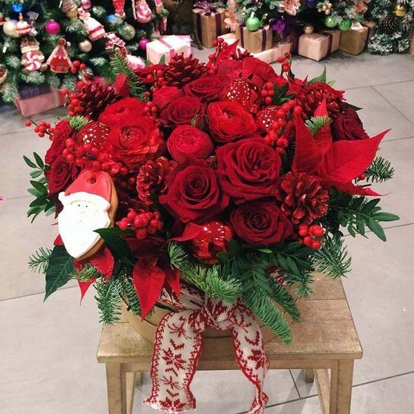 Картинки по запросу рождественские корзины с цветами