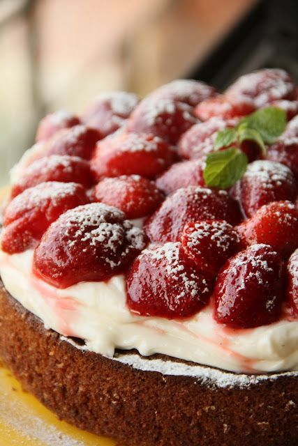 Tiramisu Liqueur Cake with Vanilla Mascarpone and Strawberries in Syrup