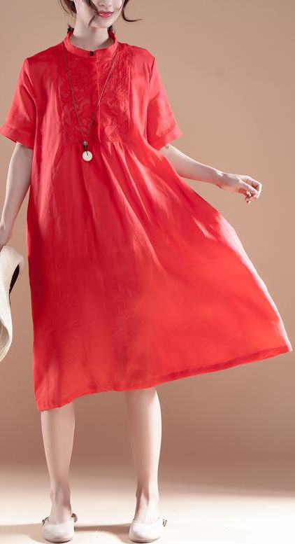 9112883693 ... Folded Women Loose Casual Summer Linen Plain Red Dress.  stylish-long-ramie-dresses-plus-size -Embroidery-Stand-Collar-Short-Sleeve-Ramie-Red-Dress1
