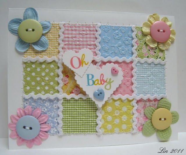 """A pinner said, """"Baby faux quilt card with embossed DP"""". I think this would be a great idea with inchies or twinchies"""