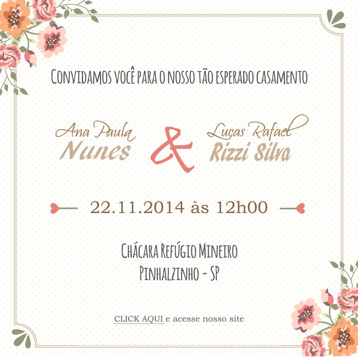 Convite virtual de casamento - Ana e Lucas - By Fiori di Giardino