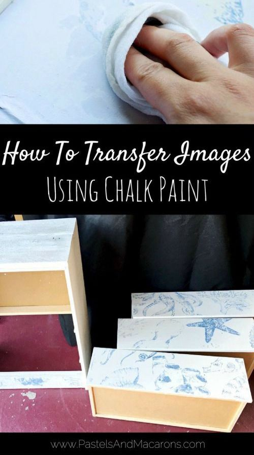 How to Transfer Images onto Wood (Furniture) with Chalk Paint! Featured on Completely Coastal: http://www.completely-coastal.com/2017/07/ikea-rast-chest-hack-with-coastal-sea-life-image-transfer.html