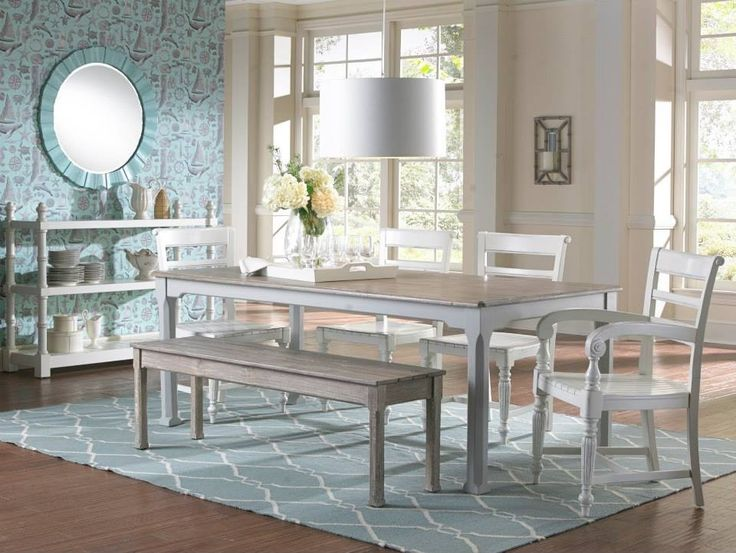 Barberton Dining Table In Two Tone White And RiverWash Finish Raffles Wooden Seat Arm Chair Cottage Queen Bench