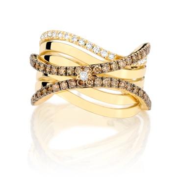 Anel de Ouro Amarelo com Diamantes