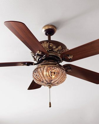 """Chantel Ceiling Fan at Horchow.  A sophisticated ceiling fan—stay cool in elegance.• Brown wood with gold-tone metal embellishments.  •52""""Dia. x 14.5""""T.   •Light kit, sold separately. Sparkling accents in style matching the fan. 11.25""""Dia. x 9.5""""T."""