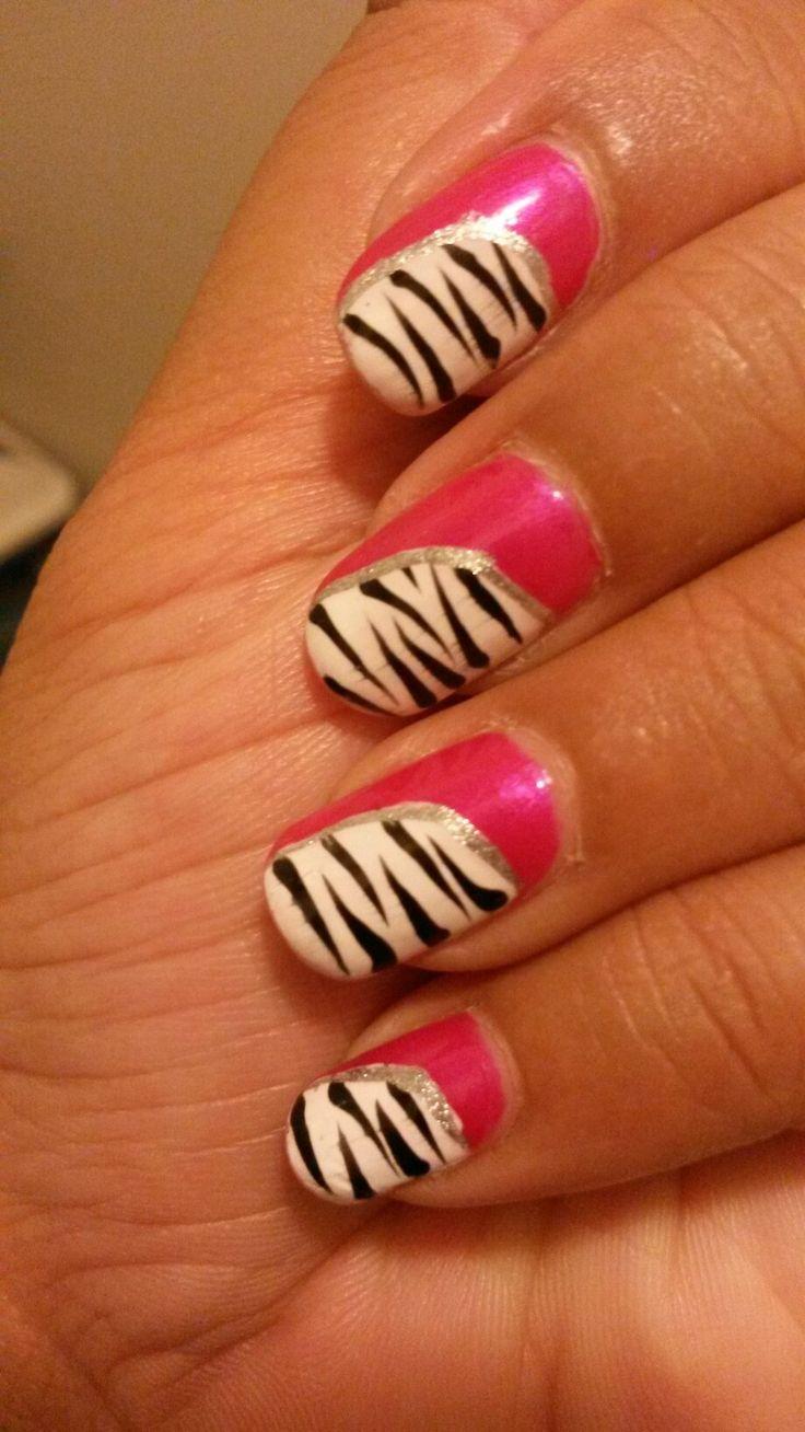 Stardust nails #pink #modern #zebra #black and white #nails #my nail art