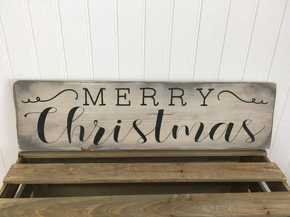Merry Christmas wood sign  farmhouse style sign in colors of