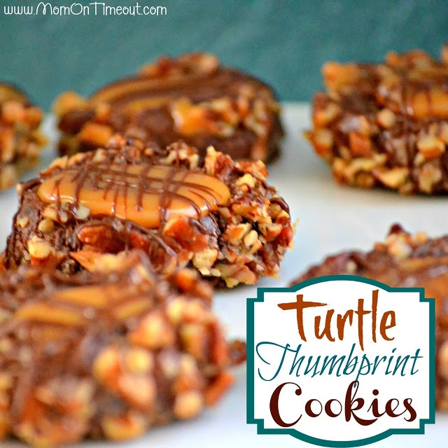 Turtle Thumbprint Cookies from MomOnTimeout.com | Completely delectable chocolate cookies with a soft caramel center.  #cookies #recipe