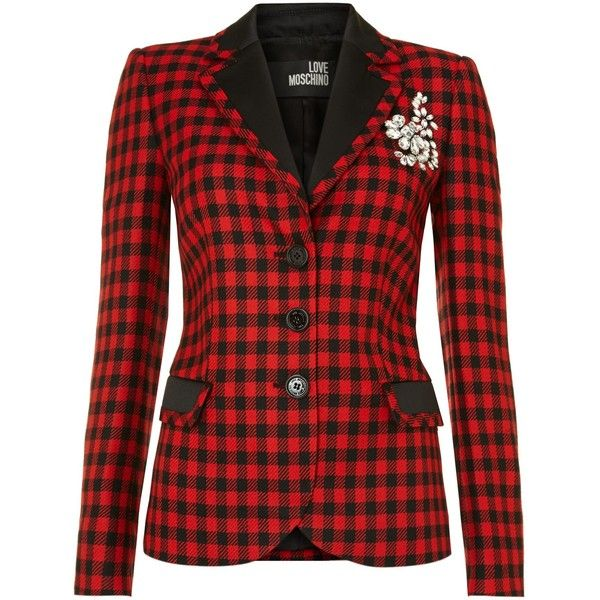 Love Moschino Long sleeved tartan blazer with brooch (17.895 RUB) ❤ liked on Polyvore featuring outerwear, jackets, blazers, tops, coats, check, women, red plaid jackets, red blazer and plaid wool blazer