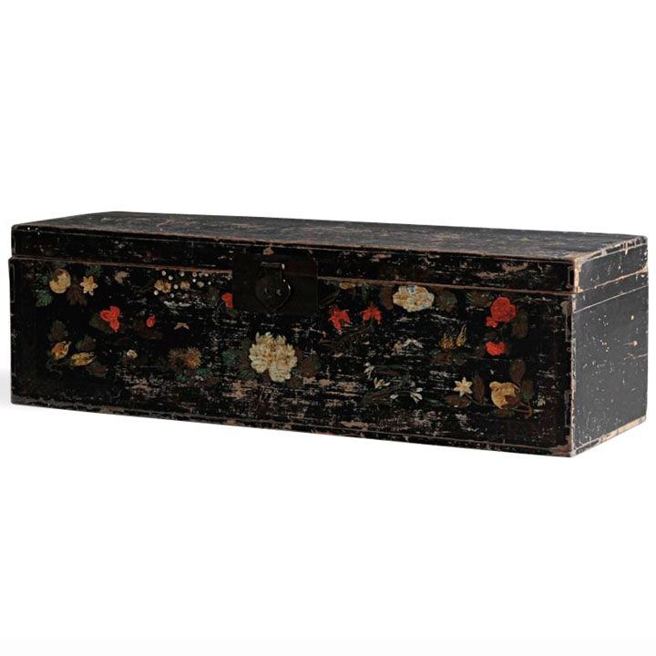 Chinese Antique Black Painted Wedding Chest #ChineseFurniture