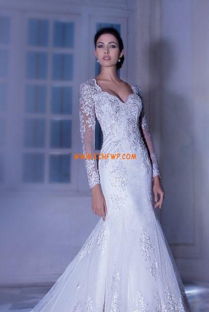Jiskra a záře Okouzlijící & dramatický Nášivky Svatební šaty 2014