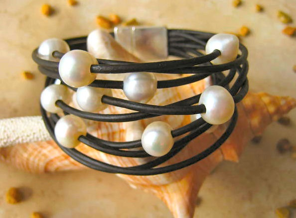 """White Baroque Fresh Water Pearl & Black Leather Bracelet """"FREE SHIPPING"""""""