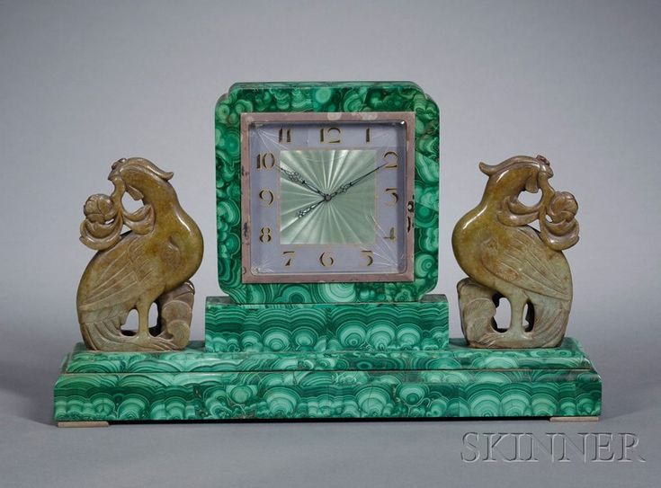 Art Deco Malachite, Spinach Jade Mounted and Enamel Mantel Clock