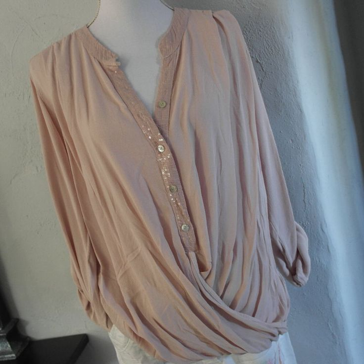 Impresionen Blus Seide rosa wickeloptik Pailletten Shirt Longshirt 36-40