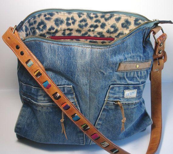 upcycled blue jean jacket big weekender bag