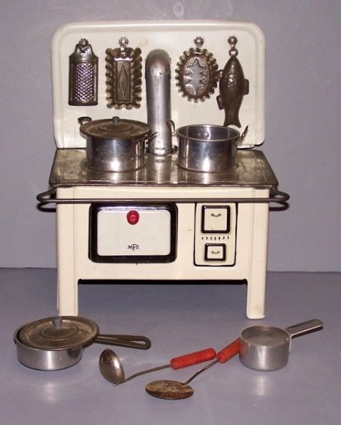 Toy Stove Set- I still have mine(almost identical) from the late 50's-early 60's, but some of the pans and utensils got lost through the years.