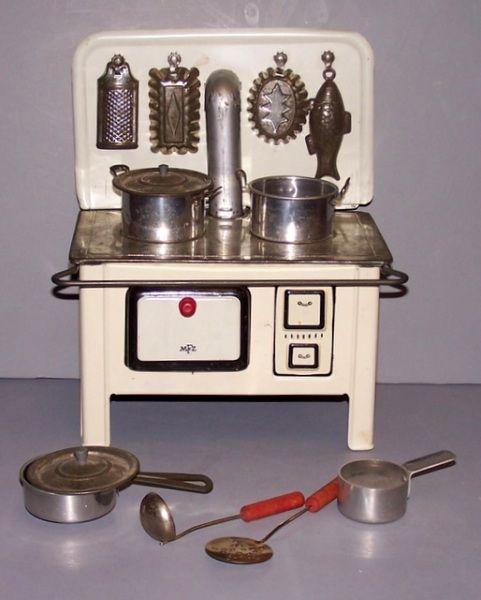 Vintage toy stove set, 1950's.