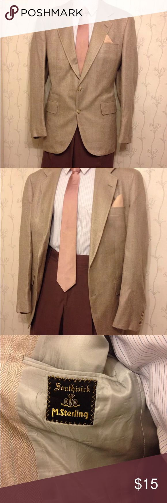 MEN'S SOUTHWICK SINGLE BREASTED SUIT- 42 R Jacket: •Designer: Southwick •2 Pockets on inside, 1 pocket for handkerchief, 2 Pockets on outside •Single Breasted: Yes •Cuffs have 4 buttons sewn onto jacket •Color: Beige with multi-colors •Size: Regular 42 •Length: 30 1/2 inches •Chest (underarm to underarm): 44 inches •Waist: 40 inches •Sleeve Length: 25 inches •Shoulder/ Back width (from seam to seam): 18 inches •Lined: Yes •Material: unknown Suits & Blazers Suits