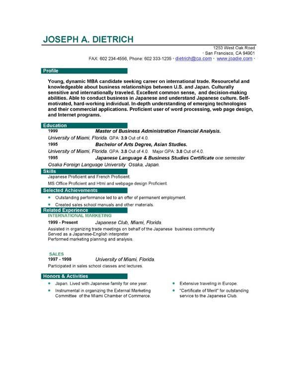 First Job Sample Resume Sample Resumes Sample Resumes - first time job resume examples