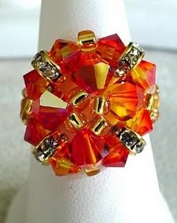 Rondelle Ring - fire opal - $ 25.00