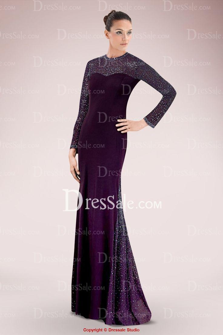 Elegant Jewel Long Sleeve Sheath Evening Dress Enhanced with Sequined Panel