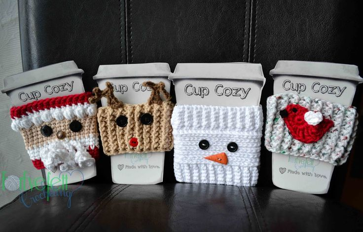 Crochet Christmas Cup Cozy Collection By Lois - Free Crochet Patterns - (foreverettcrocheting)