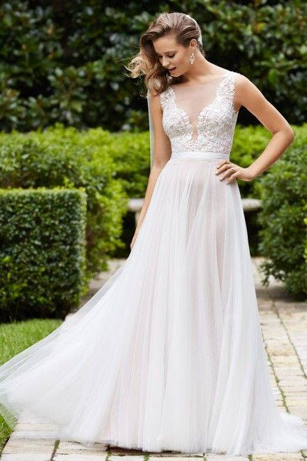 This dress looks like one of the ones you have pinned...Wtoo Brides Marnie Gown Style 14715 | Watters.com