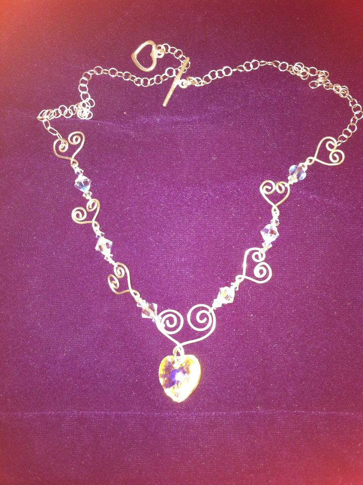 Necklace, silver, hearts, swarovski, plata, collar, corazones