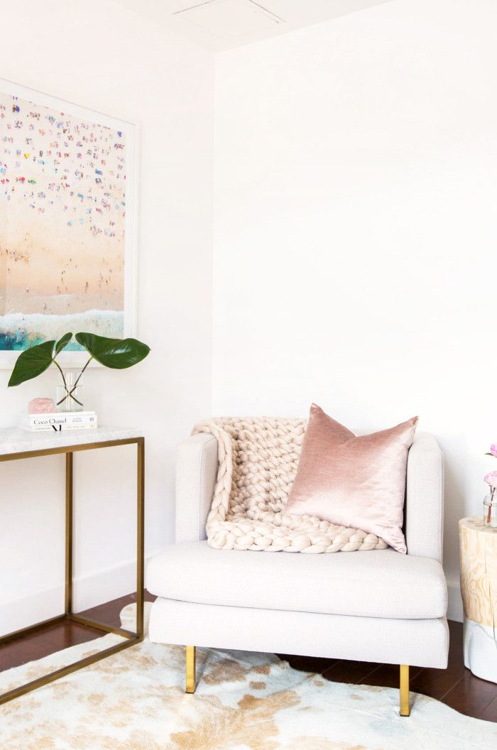 Blush, Brass, and White All Over—We're Obsessed With This Glam Abode via @MyDomaine