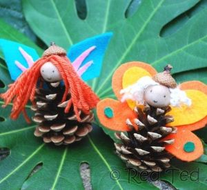 Kids Crafts: Pinecone Crafts – Fairies Switch to Angels for Christmas craft!  Adding glitter definitely!