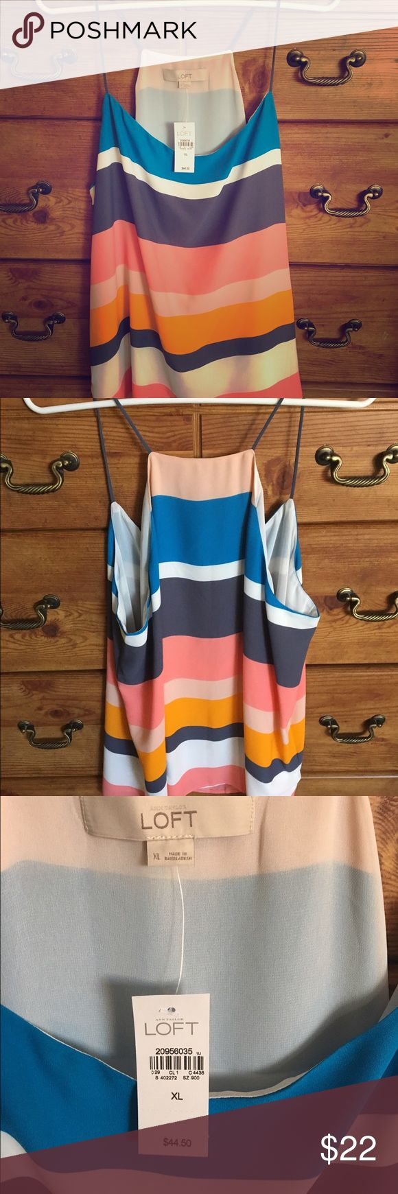 NWT Loft Strappy Racerback Dpuble Chiffon Cami Adorable NEW WITH TAGS Loft strappy racerback double chiffon cami! Beautiful alone or layered under a blazer or cardigan. Bright and beautiful stripes! LOFT Tops Camisoles