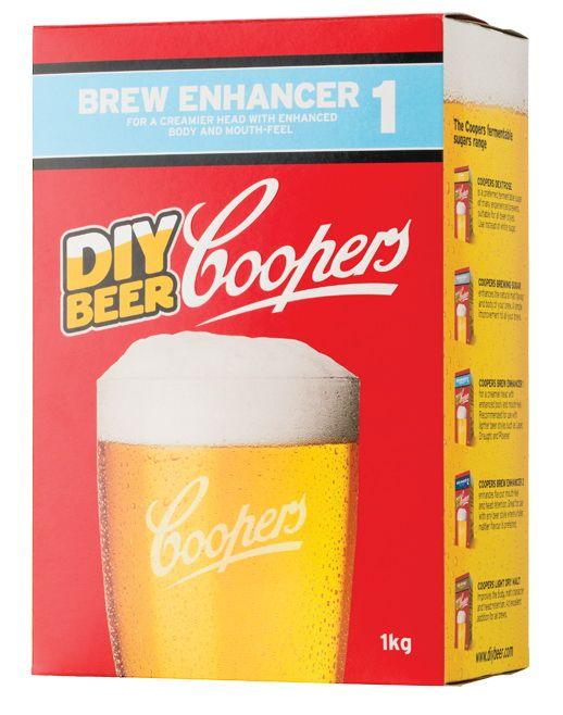 Coopers Beer Enhancer 1    Coopers Brew Enhancer 1 contine dextroza si maltodextrina. Dextroza va fementa complet, fara arome reziduale,   in timp ce maltodextrina nu fermenteaza, imbunatatind astfel corpolenta berii, gustul si persistenta spumei.  Coopers Beer Enhancer 1 se recomanda pentru beri mai light, cum ar fi Lager, Draught si Pilsner  Se foloseste in locul zaharului pentru fermentare.