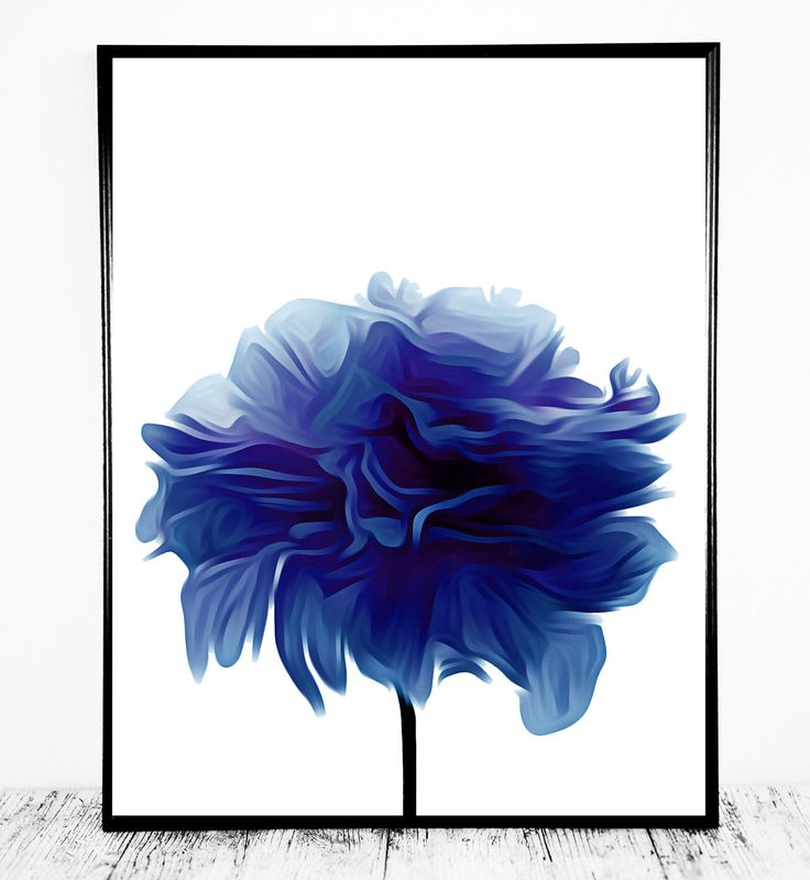 Gorgeous Blue Wall Print Based on A Flower Photograph ...