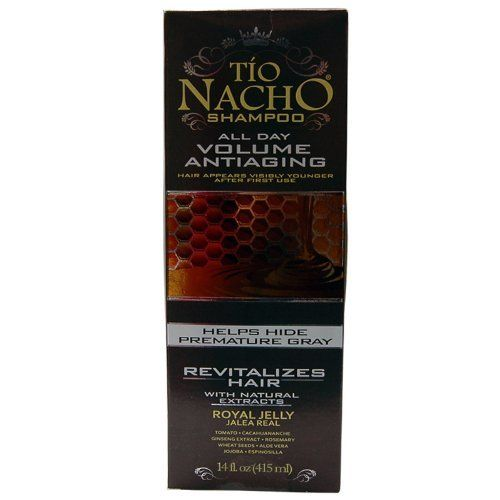 TIO NACHO Shampoo All day Volume Antiaging by TIO NACHO. $13.79. Rich in vitamin E, antioxidant. nourishes hair, removes excess oil, hair appears visibly younger after first use. Antiaging formula. Anti-Loss due to breakage. Anti-Loss due to breakage Antiaging formula nourishes hair, removes excess oil, hair appears visibly younger after first use Rich in vitamin E, antioxidant