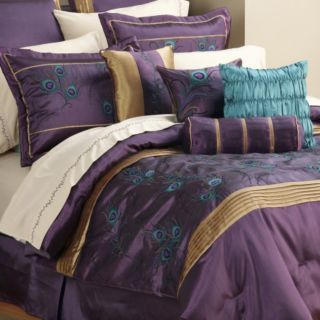 purple and teal bedding | ... PEM America Plum Purple Teal and Gold Peacock 8 Piece Queen Comforter