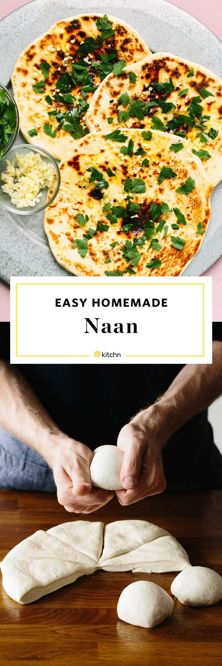 How To Make An Easy Naan Bread Recipe at Home. Homemade Indian naan is surprisingly simple to make from scratch! Use it for a quick weeknight meal of pizza for dinner, or use it for a wrap or sandwich at lunch. Also, it's obviously great with curry or stew! You'll need yeast, flour, salt, and yogurt.