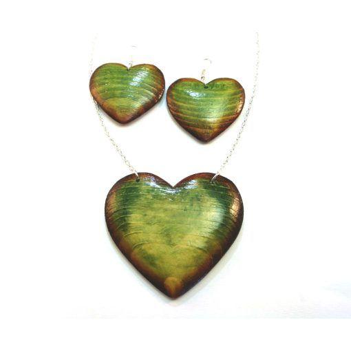 Drevené šperky – náušnice, náhrdelník, prírodné-zelené