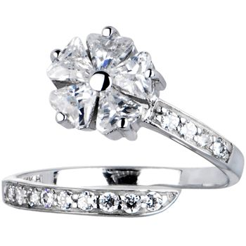10k White Gold Cubic Zirconia Floral Flower Toe Ring #BodyCandy