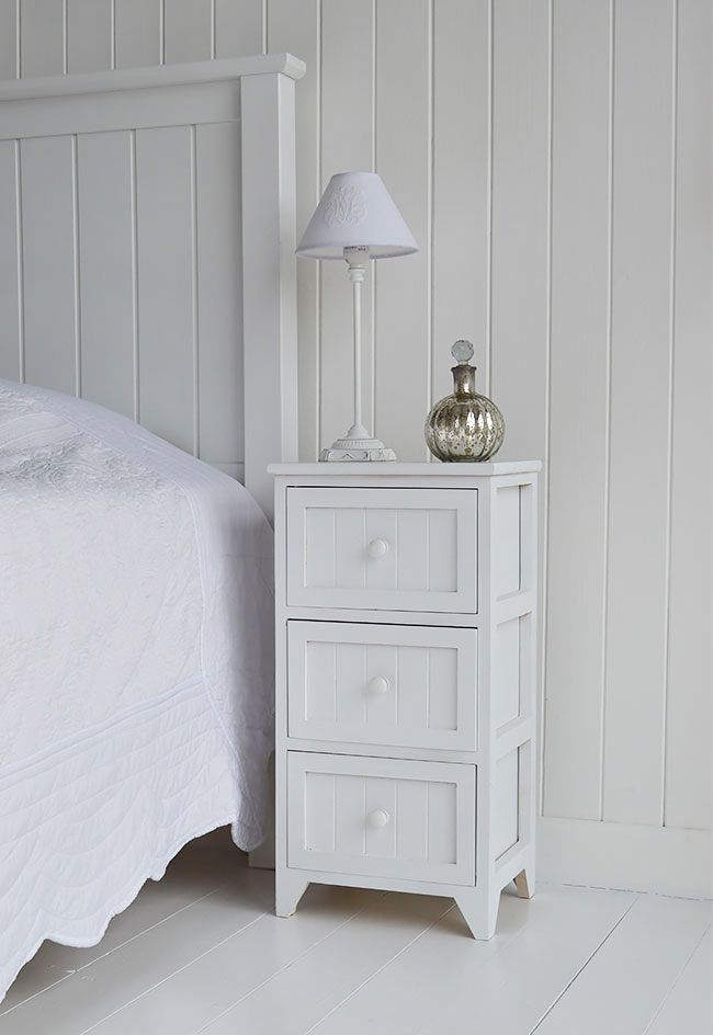 New England white Maine bedside table with 3 drawers
