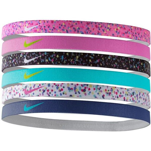 Nike 6-pk. Printed Stretch Headbands (Blue) (€14) ❤ liked on Polyvore featuring accessories, hair accessories, hair, blue, moisture wicking headband, nike hairband, stretchy headbands, stretch headbands and nike