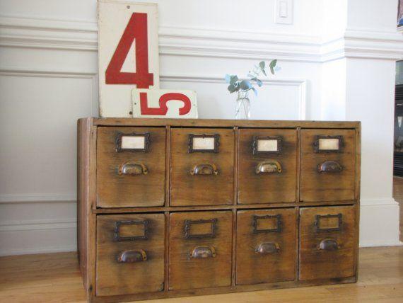 antique hardware store cabinet
