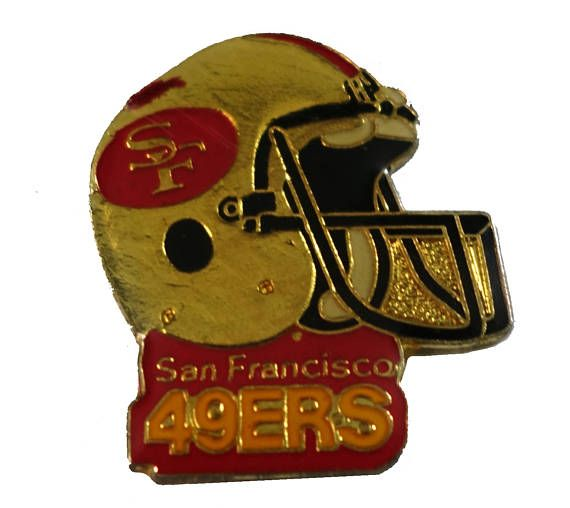 """SAN FRANSISCO 49ERS Helmet vintage enamel pin lapel cloisonne NFL Football by VintageTrafficUSA  11.00 USD  A vintage 49ers pin! Excellent condition. Measures: approx 1"""" 20 years old hard to find vintage high-quality cloisonne lapel/pin. Beautiful die struck metal pin with colored glass enamel filling. Add inspiration to your handbag tie jacket backpack hat or wall. Have some individuality = some flair! -------------------------------------------- SECOND ITEM SHIPS FREE IN USA!!! LOW…"""