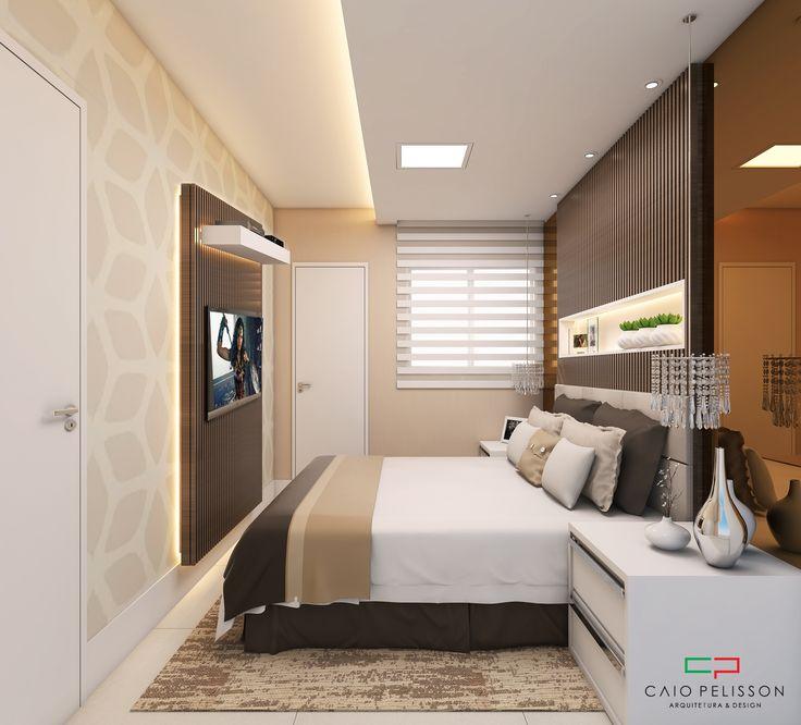 Projeto de suíte master em um apartamento compacto. Uso de madeira e espelho bronze trazem conforto ao ambiente, e as cores claras ajudam na sensação de ampliação do ambiente,